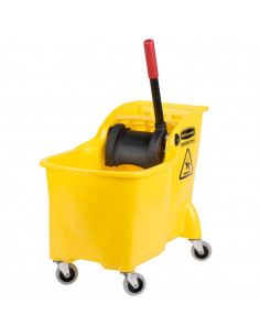 Rubbermaid Yellow Mop Bucket with Reverse Press Wringer