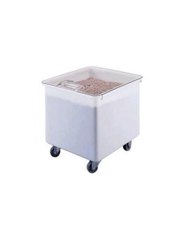 وعاء أبيض لحفظ الأطعمة الجافة بغطاء شفاف