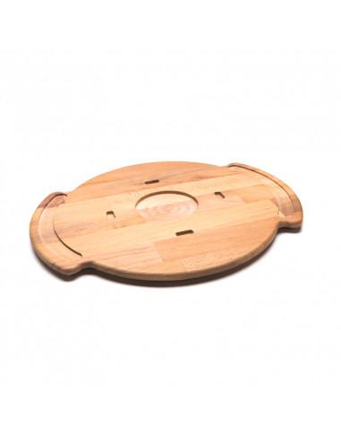 صينية التحميص 48028028 بسطح من الحديد وقاعدة خشبية من كاب