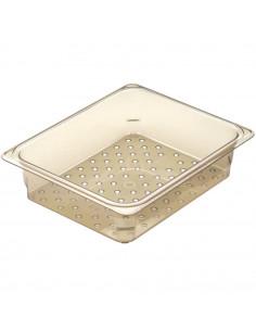 Cambro H-Pan 23CLRHP150 1/2 Size Amber High Heat Colander Pan