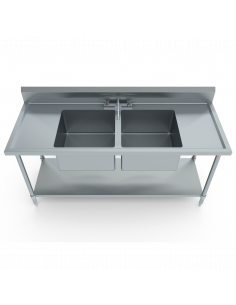 Miran SS Double Compartment Sink Table