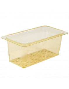 Cambro 35CLRHP150 H-Pan™ 1/3 Size Amber High Heat Colander Pan