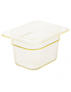 "Cambro 84HP150 H-Pan™ 1/8 Size Amber High Heat Food Pan - 4"" Deep"
