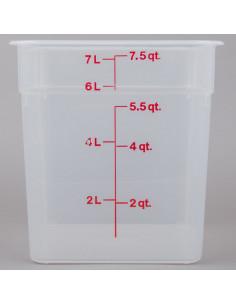 حاوية تخزين طعام شفافة مربعة بسعة 8 كوارت بتدرجات قياس باللون الوردي 8SFSPP190 من كامبرو