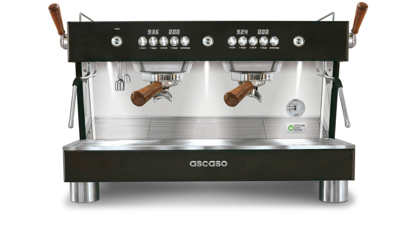 ASCASO Barista T PLUS 2 Group Esprsso Machine - Black with Wooden Accessories