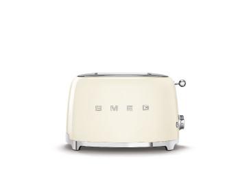 محمصة خبز سميج 2 شريحة تصميم عصري من طراز ريترو، كريمي