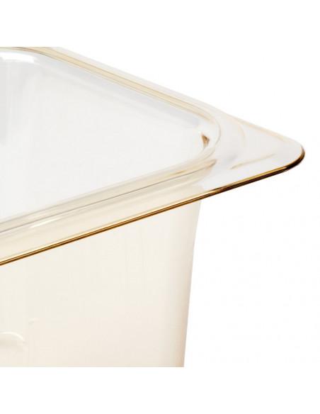 "Cambro 65CLRHP150 H-Pan 1/6 Size Amber High Heat Colander Pan - 5"" Deep"