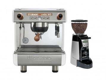 Casadio Undici Volumetric Single Group Espresso Machine - Wood + Casadio Enea by Cimbali On Demand Espresso Grinder