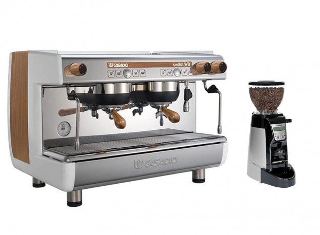 Casadio Undici Volumetric 2 Group Espresso Machine - Wood + Casadio Enea by Cimbali On Demand Espresso Grinder