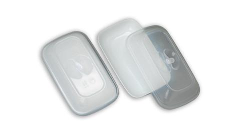 Elite Orient White Salad Plate with Transparent Lid - 64 pieces