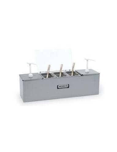 Nemco 88100-CB-3  Stainless Steel Condiment Bar with Two 3 Qt. Pumps and 0.6 Qt. Condiment Trays