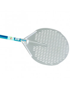 Gi-Metal A-32F-60 Aluminum round perforated pizza peel  33cm with 60cm Handle