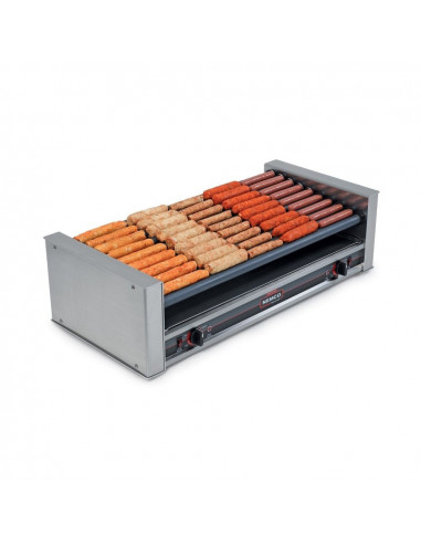 Nemco 8045SXW‐220 Wide Slanted Hot Dog Roller Grill with GripsIt Non-Stick Coating